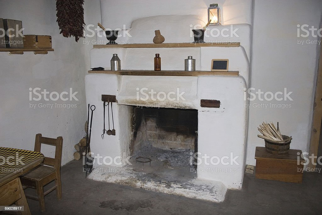 Adobe fireplace royalty-free stock photo