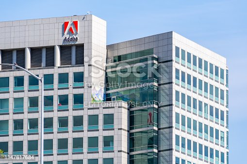 May 5, 2019 San Jose / CA / USA - Adobe Inc. headquarters in downtown San Jose, south San Francisco bay area, Silicon Valley