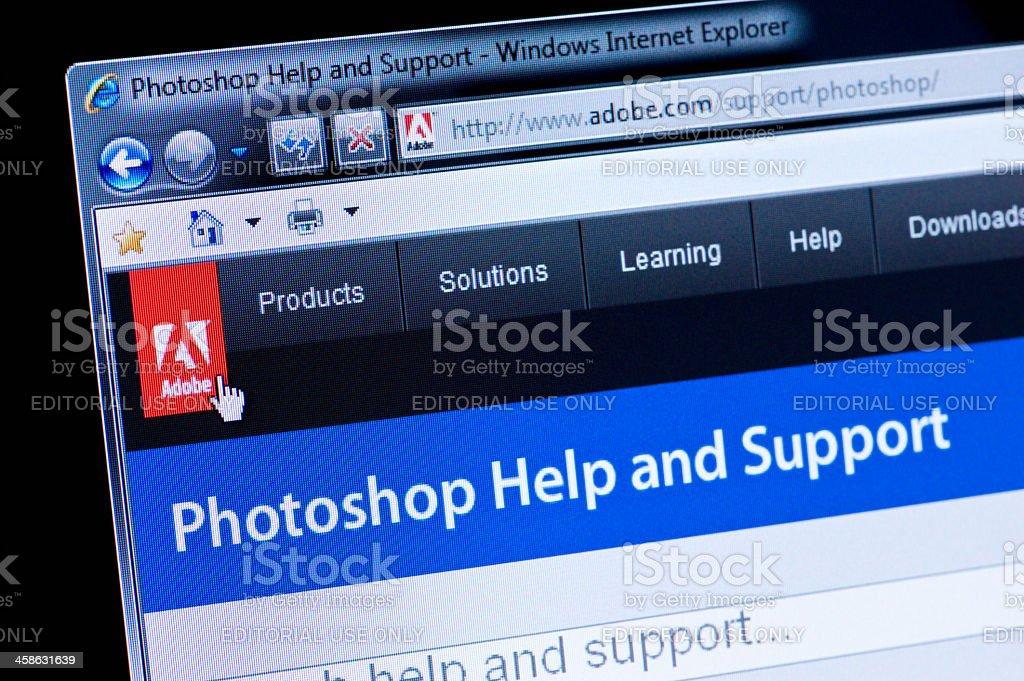 Adobe Photoshop - Macro shot of real monitor screen stock photo