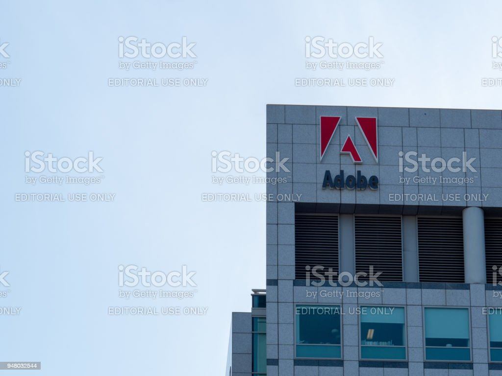 Adobe Systems, Photoshop maker, logo on headquarters skyscraper towers in Silicon Valley stock photo