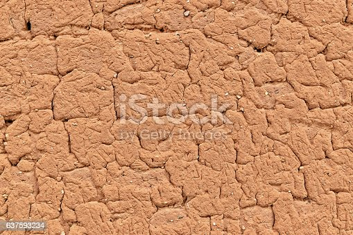 Adobe wall made of red dirt, straw and stones with cracks and age. Excellent texture background. Red soil indicative of old Castille.