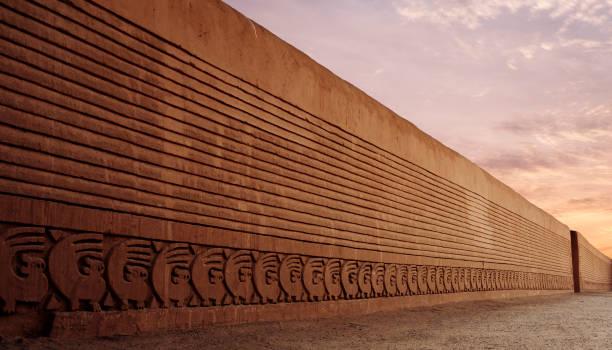 Adobe Walls At Chimu City Of Chan Chan Near Trujillo, Peru stock photo