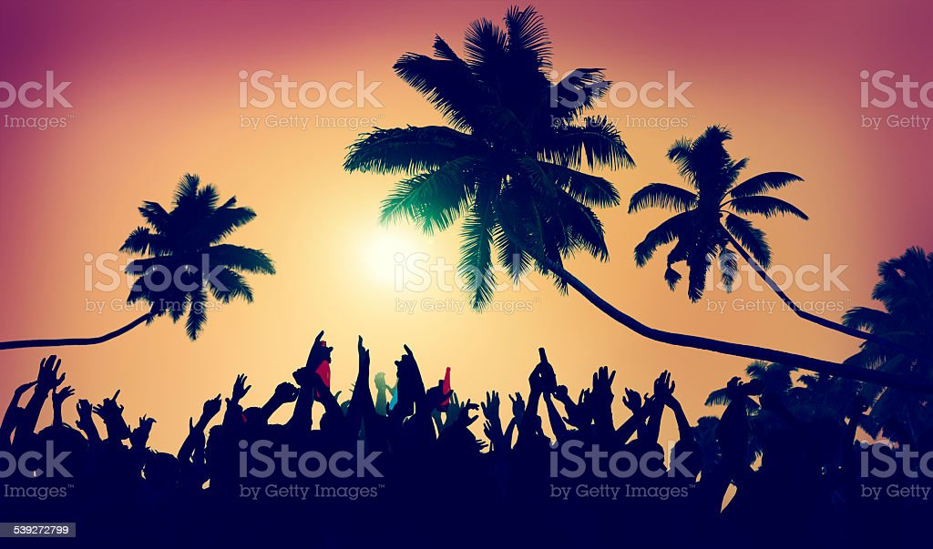 Adolescence Summer Beach Party Outdoors Community Ecstatic Concep stock photo