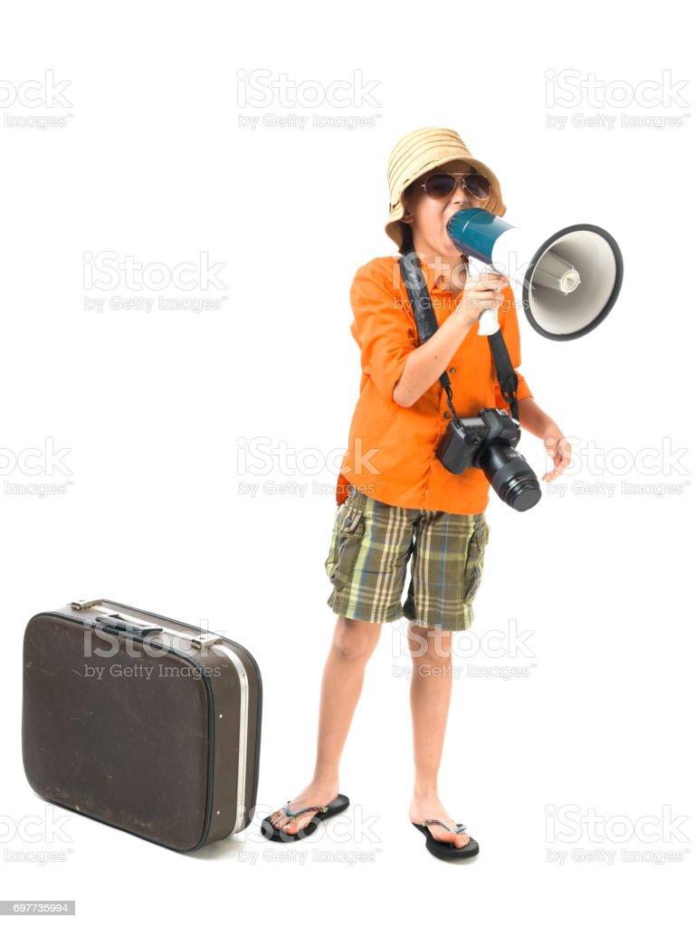 Gritos de adolescente através de megafone para férias - foto de acervo