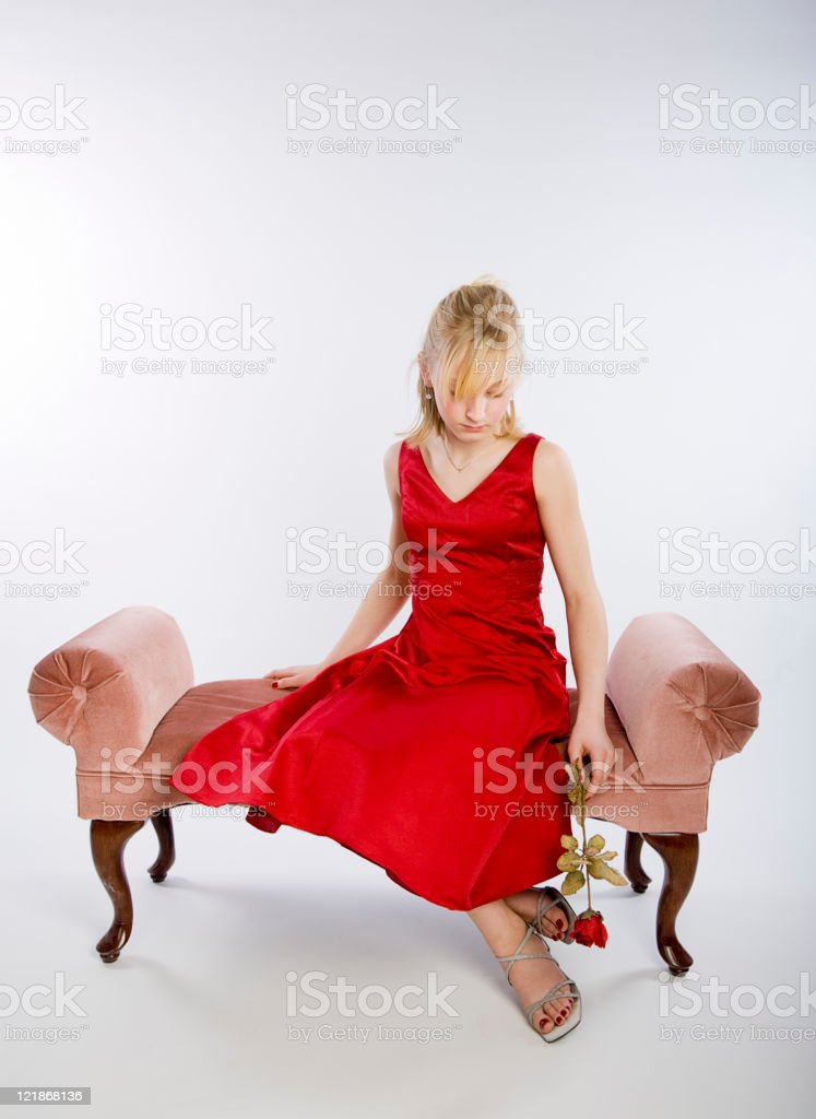 Adolescent Girl in Dress royalty-free stock photo