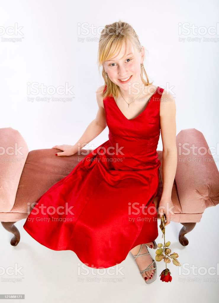Adolescent Girl in Dress stock photo