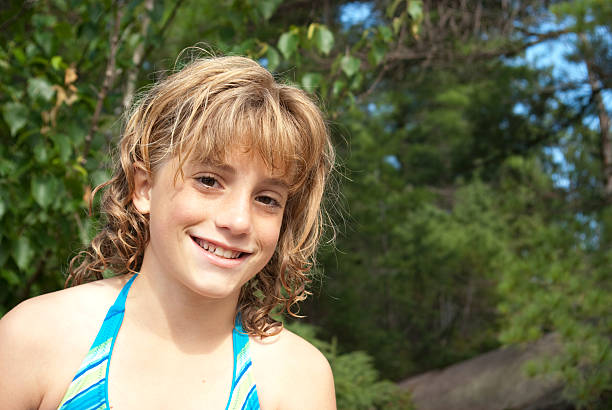 Adolescent Girl in Summer stock photo
