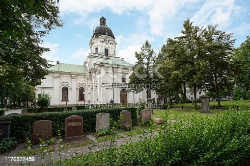 Stockholm, Sweden. September 2019.  A view of the  Adolf Fredriks church and the cemetery in the park