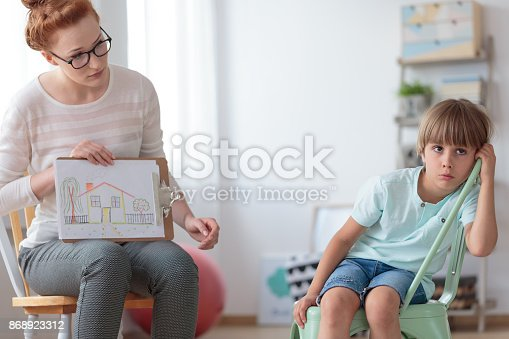 istock Adoption counselor and little boy 868923312