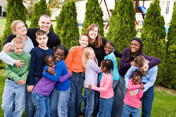 Adoptive Family stock photo