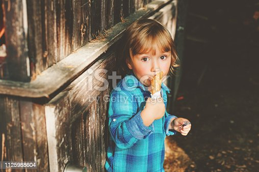 istock Adorable 3 year old blond boy eating ice cream outdoors 1125988604