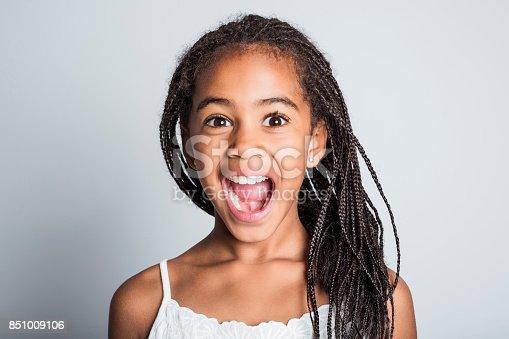 istock Adorable african little girl on studio gray background 851009106
