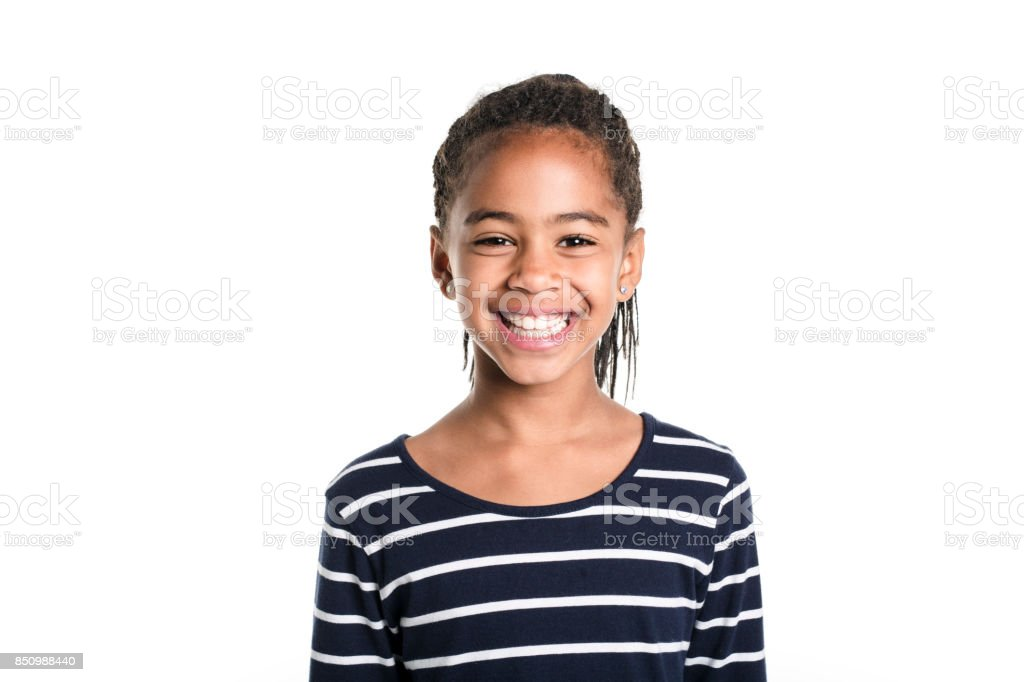 Adorable african little girl on studio white background stock photo