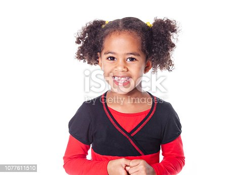 An Adorable african little girl with beautiful hairstyle isolated over white