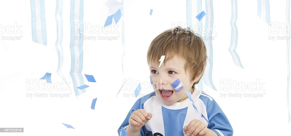 Adorable argentinean soccer fun stock photo
