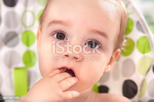 149051793 istock photo Adorable baby eating with hands close up 467261100