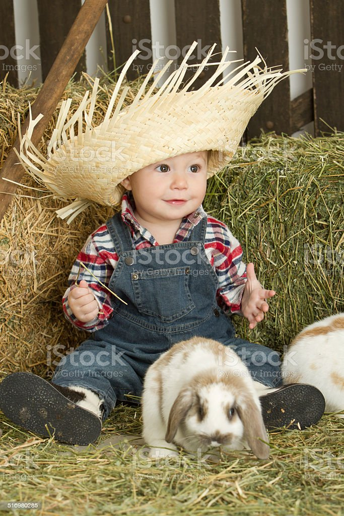 Adorable Baby Farmer With Rabbits Stock Photo   More Pictures of 12 ... 5acb8260417