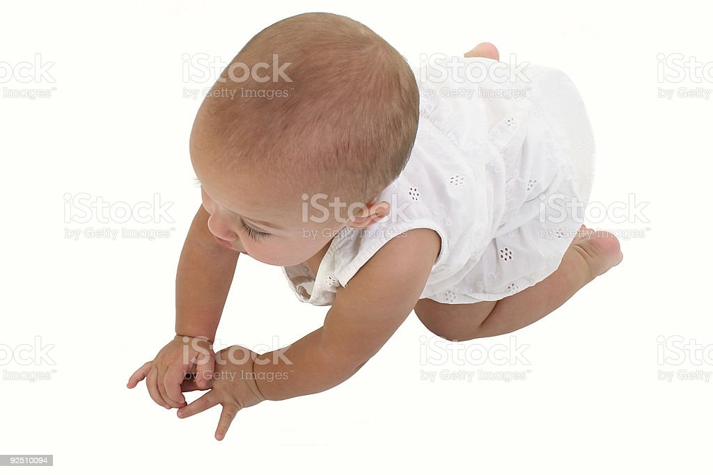 Adorable Baby Girl Crawling On Floor royalty-free stock photo