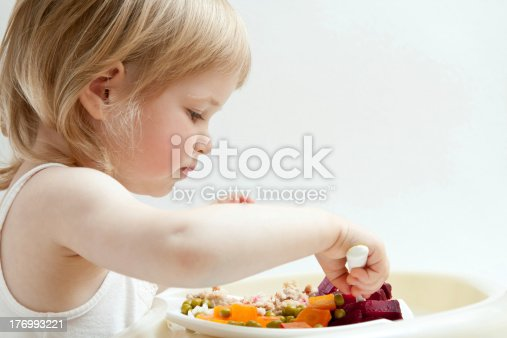 istock Adorable baby girl eating fresh vegetables 176993221
