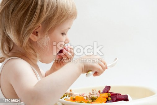 istock Adorable baby girl eating fresh vegetables 177016904