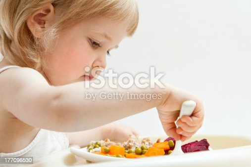 istock Adorable baby girl eating fresh vegetables 177096530