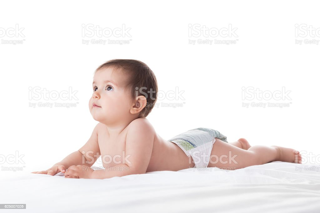 Adorable baby girl portrait on white background stock photo