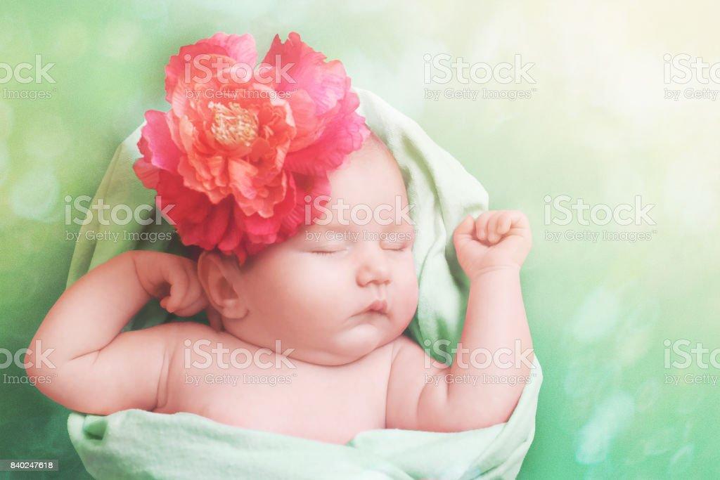 7eb336f24 Adorable bebé niña durmiendo en la manta verde foto de stock libre de  derechos