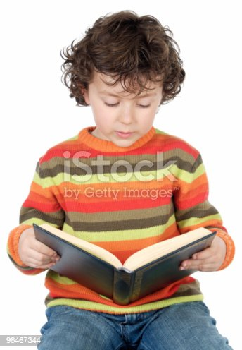 Adorable Boy Studying Stock Photo & More Pictures of Book