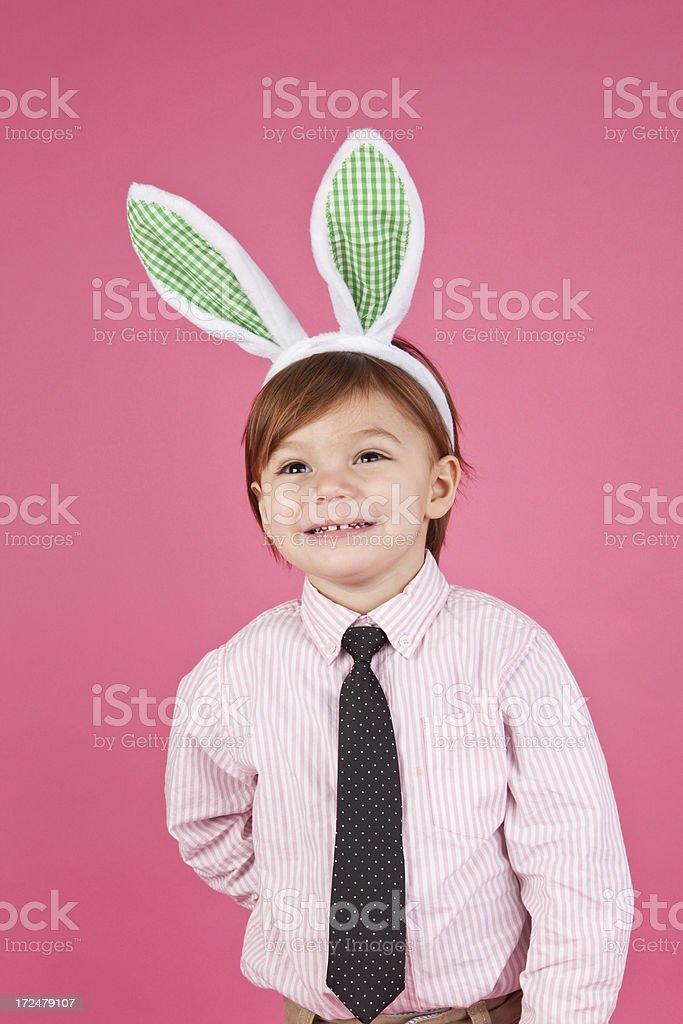 Adorable Boy Wearing Bunny Ears stock photo