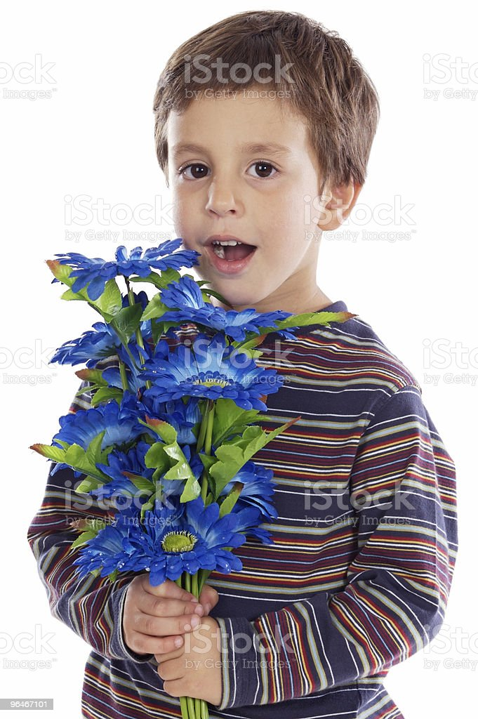 adorable boy with flowers royalty-free stock photo