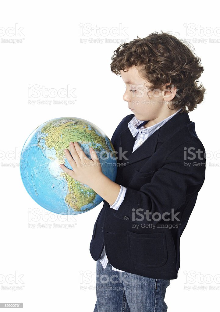 adorable boy worried about the planet earth royalty-free stock photo