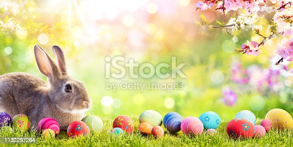 istock Adorable Bunny With Easter Eggs In Flowery Meadow 1132297264