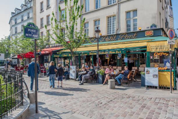 Adorable cafe in Saint-Michel in Paris stock photo