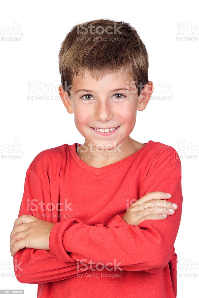 Adorable child with blond hair stock photo