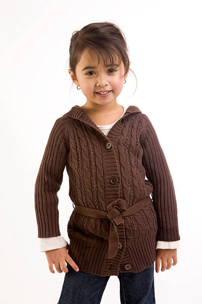 Adorable Ethnic Little Girl in Fall Fashion on White, Copyspace stock photo