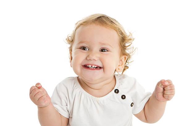 Adorable expressive little girl stock photo