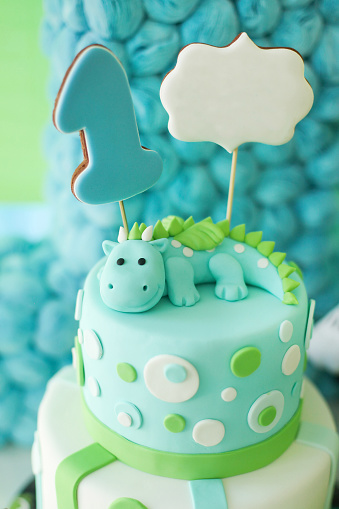 Fabulous Adorable First Birthday Cake With Dragon Stock Photo Download Personalised Birthday Cards Veneteletsinfo