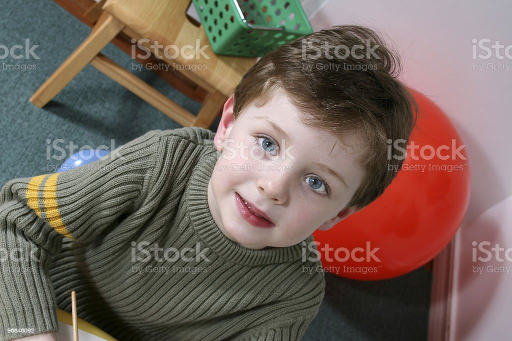 Adorable Four Year Old Boy with Blond Hair Blue Eyes royalty-free stock photo