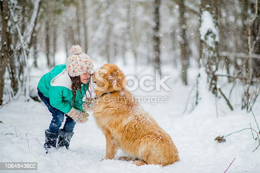 A small girl and her golden retriever are playing outside in the forest in winter. They are touching noses. The girl is bending down and the dog sits on the snow-covered ground.