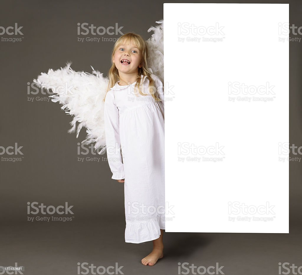adorable girl angel by the banner XXL royalty-free stock photo