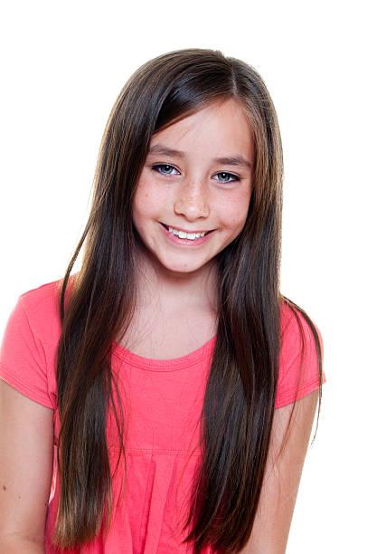 Brown hair blue eyes girl