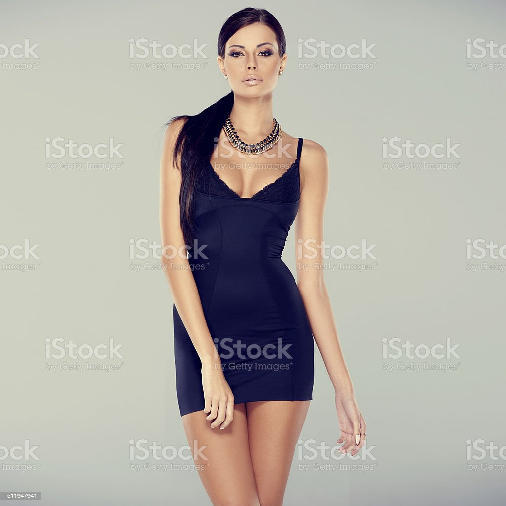 Adorable glamour woman in sexy dress stock photo