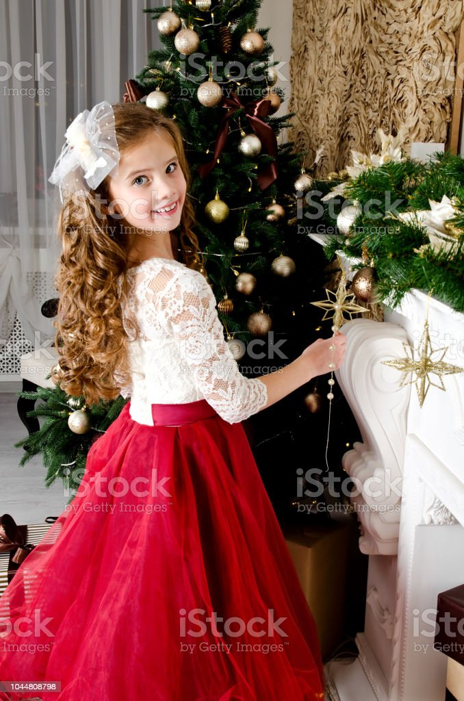 0efef121a Adorable Happy Smiling Little Girl Child In Princess Dress With Gift ...
