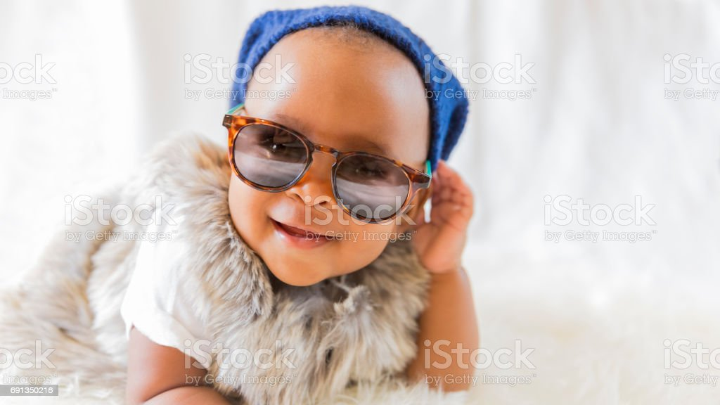Adorable Hipster African-American Baby stock photo