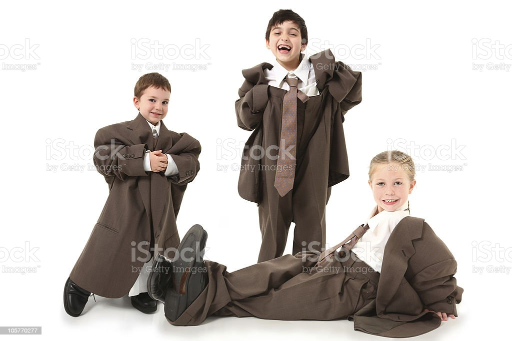 Adorable Kids in Over Sized Suits stock photo