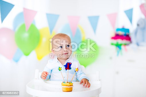 istock Adorable little baby boy celebrating first birthday 623983352