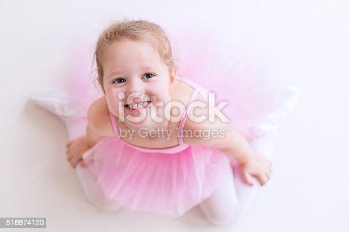 istock Adorable little ballerina in pink tutu 518874120