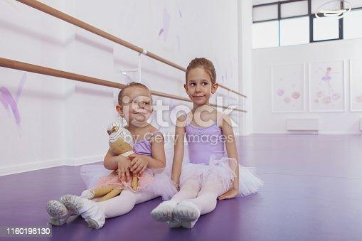 1160198096 istock photo Adorable little ballerinas at dancing school 1160198130