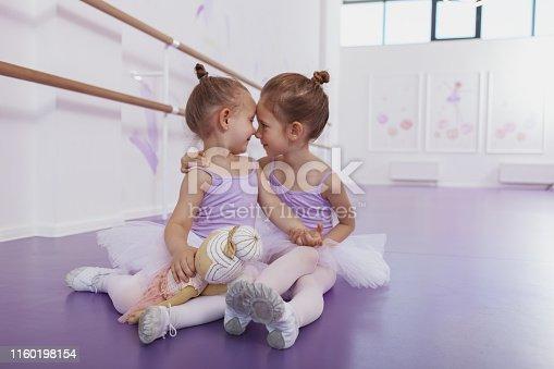 1160198096 istock photo Adorable little ballerinas at dancing school 1160198154