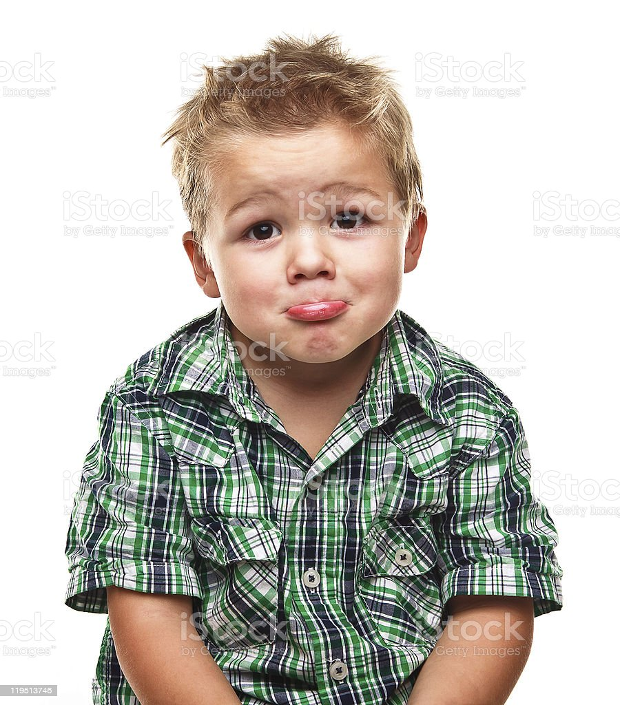 Adorable little boy looking sad. royalty-free stock photo